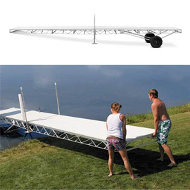 129. $3,300 – INTERLAKES SPORTS CENTER HEWITT ALUMINUM WHITE ROLL IN DOCK 32 FT with ALUMINUM TOP, Madison, SD