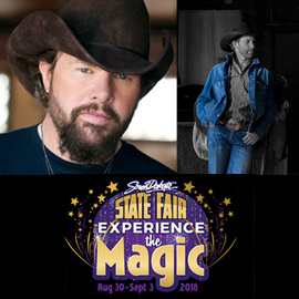 24. $74 – SOUTH DAKOTA STATE FAIR TOBY KEITH/CHANCEY WILLIAMS TICKETS for 7 PM Friday 8/31/2018 Huron, SD
