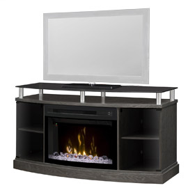 "118. $1,749 – VANDERSTOEP FURNITURE DIMPLEX WINDHAM MEDIA FIREPLACE , Edgerton, MN/ 53"" w by 20 ¾"" d by 27 5/8"" tall, would fit a 60"" tv on it or for sure a 55"". Some features include: Flame changes color, warms up to 1000 SqFt, plugs into a 110 outlet. TV not included"